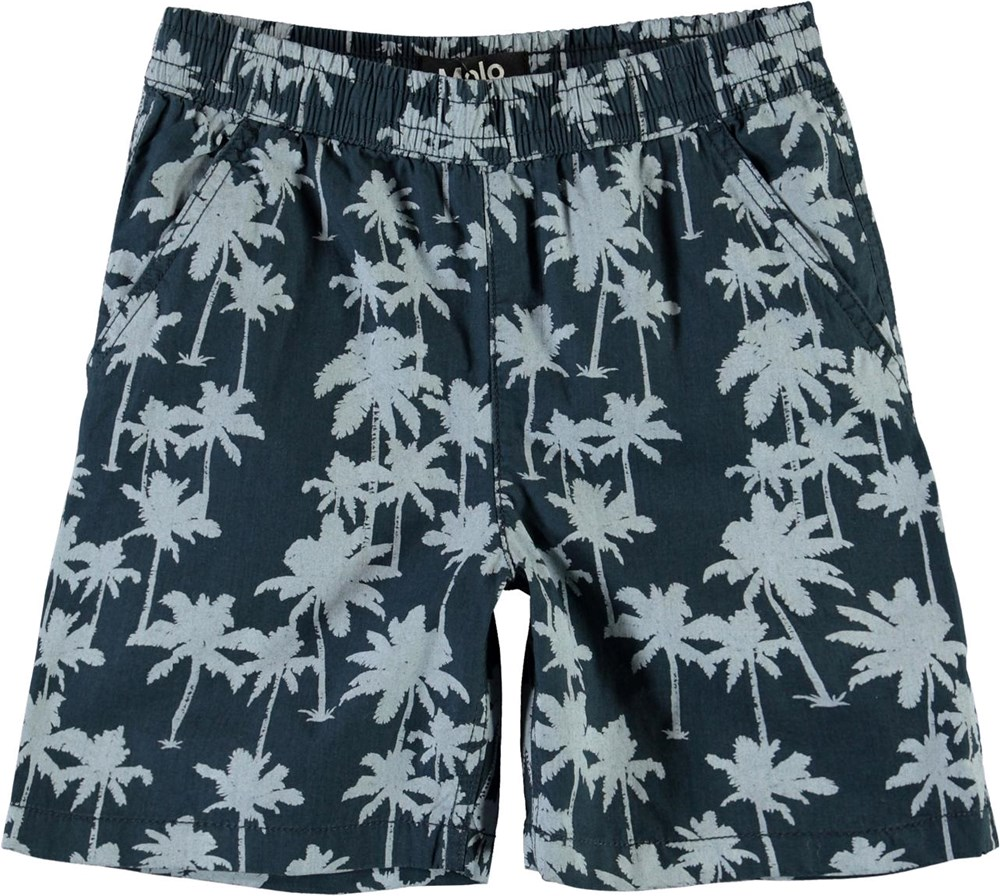 Acton - Summernight Palmtree - Blue shorts with palm tree print
