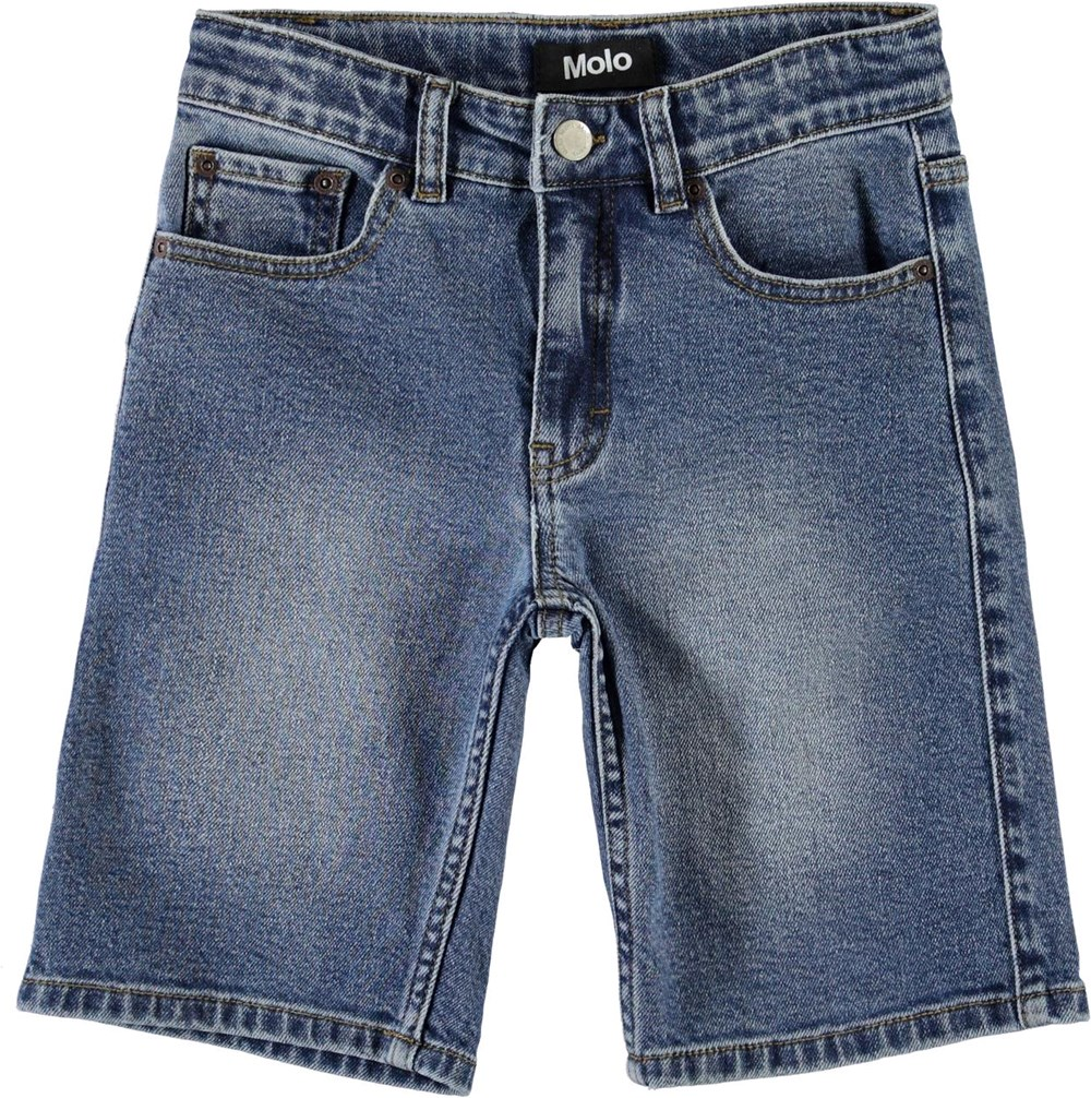 Adrik - Hv_Washed Denim - Long blue denim shorts