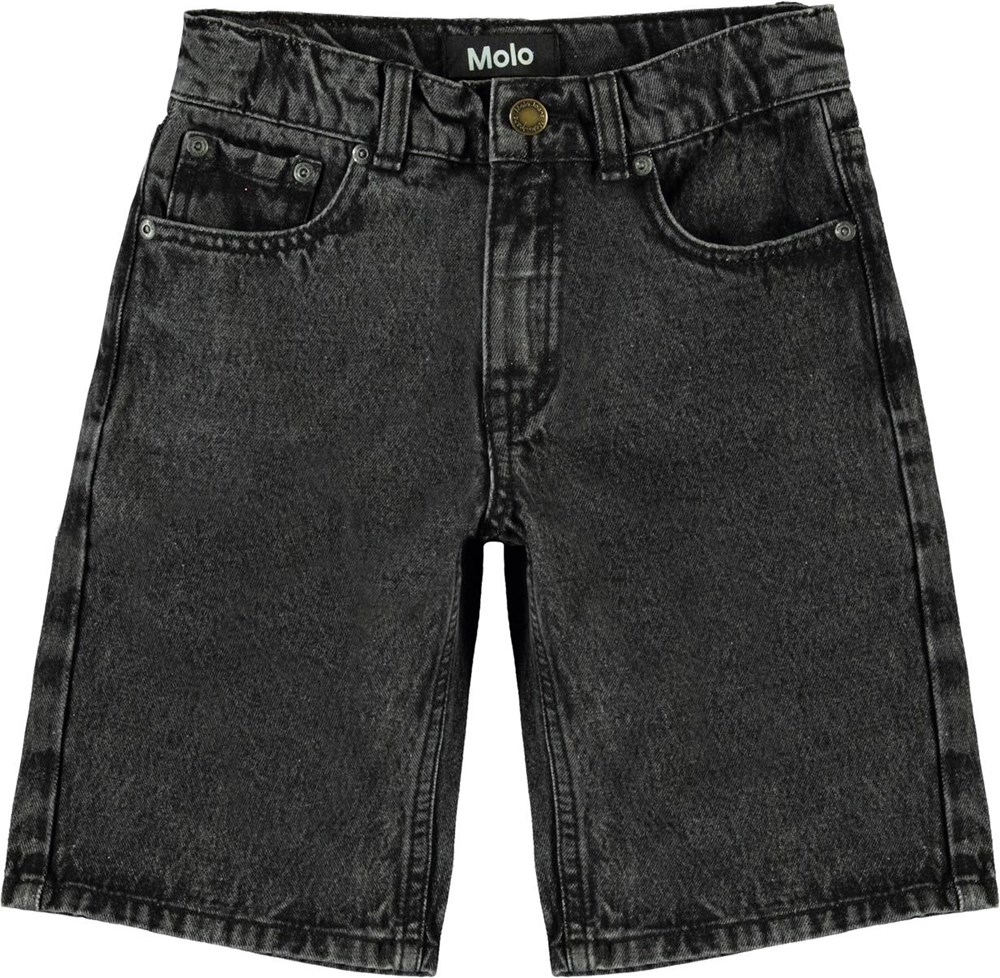Adrik - Washed Black - Long black denim shorts