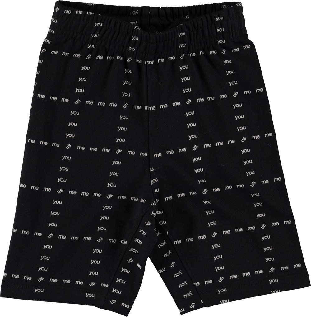 Aliases - Black - Black shorts with words.