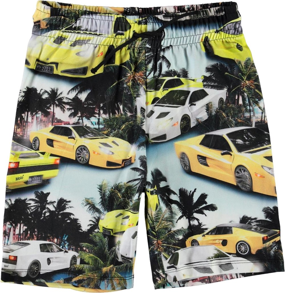 Alim - Fast Cars - Organic shorts with cars and palm trees