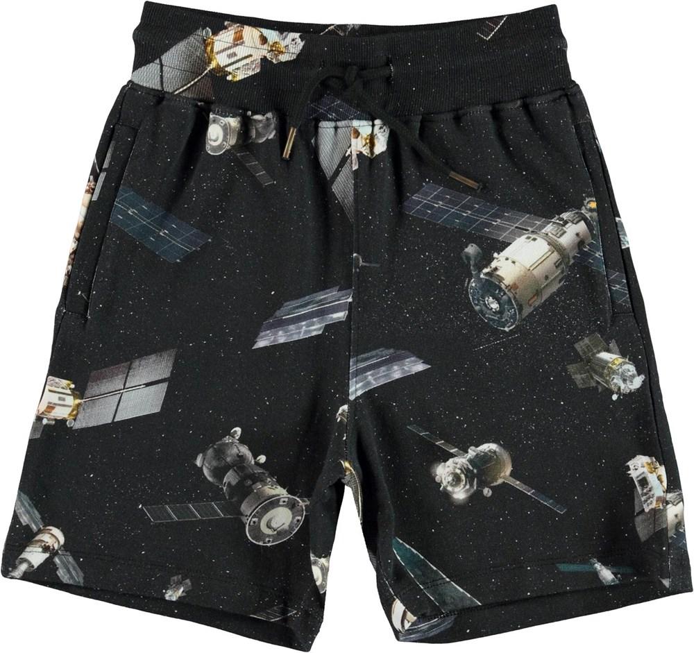 Alw - Space Satellite - Black sweatshorts with satellite print