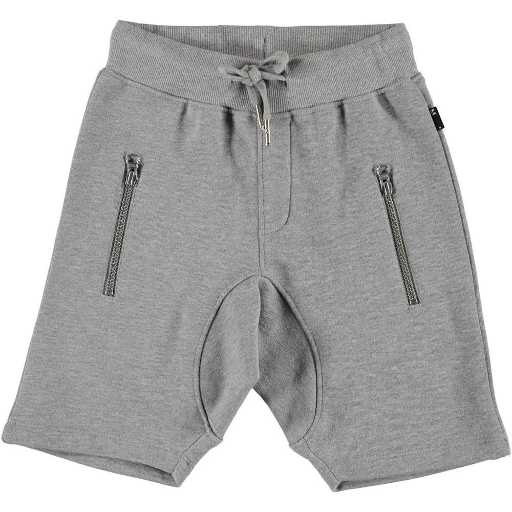 Ashtonshort - Grey Melange - Grey melange sweatshorts.