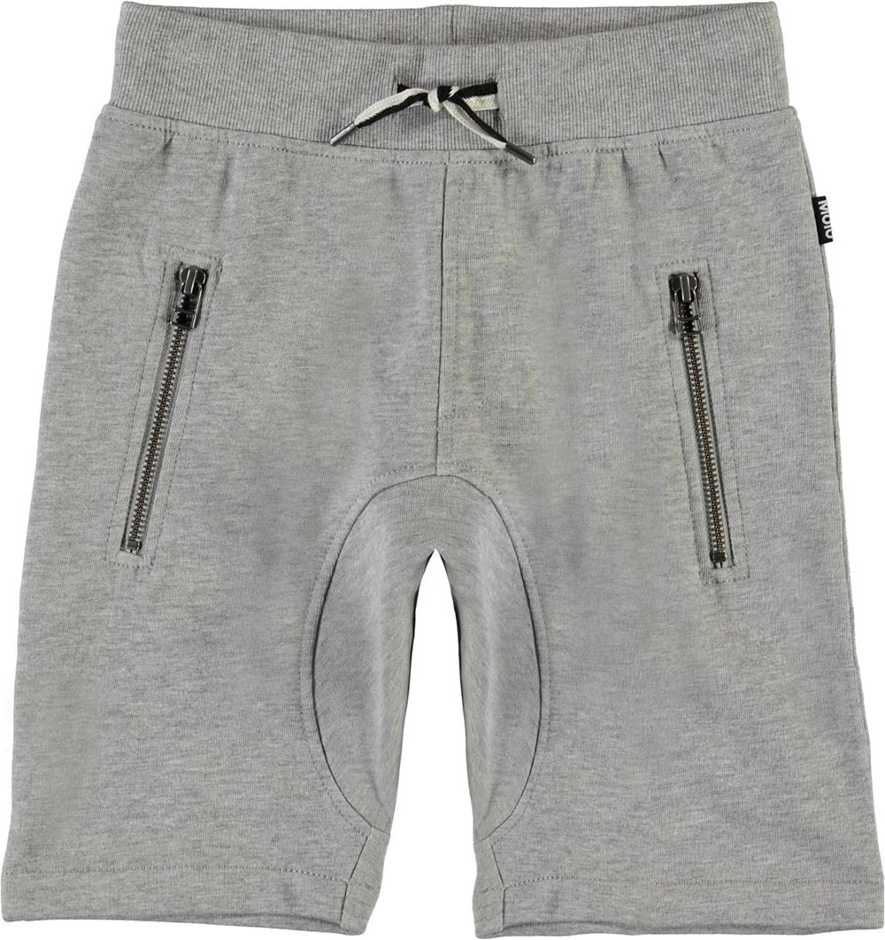 Ashtonshort - Grey Melange - Grey organic sweatshorts