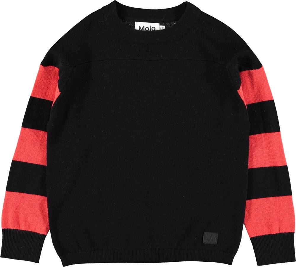 Bartel - Black - Black wool jumper with striped sleeves