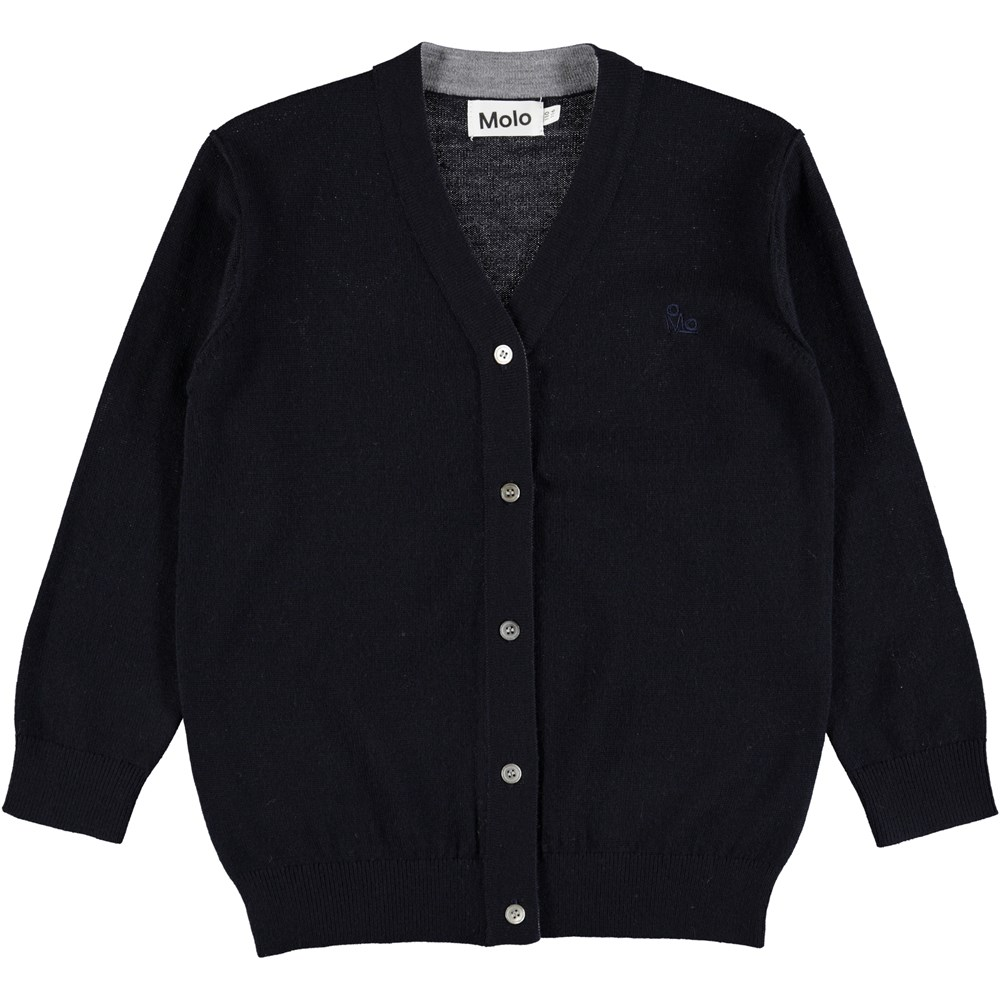 Basel - Dark Navy - Dark blue wool cardigan with buttons