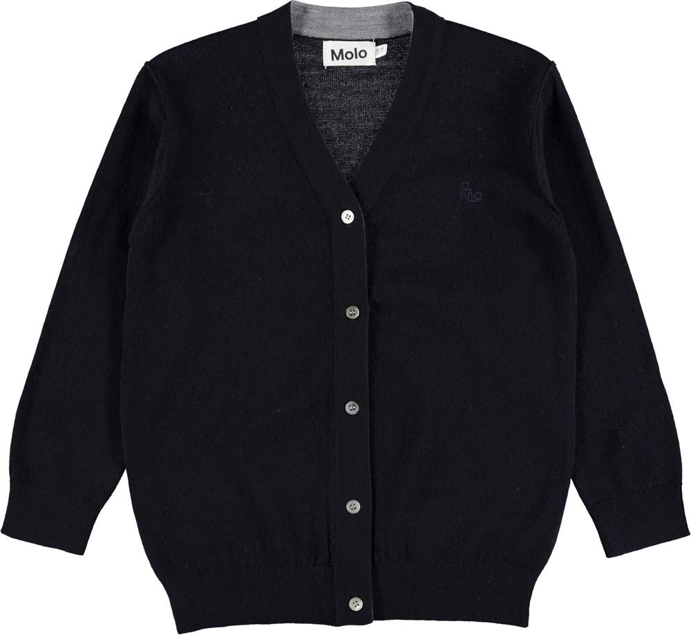 Basel - Dark Navy - Dark blue wool cardigan with buttons