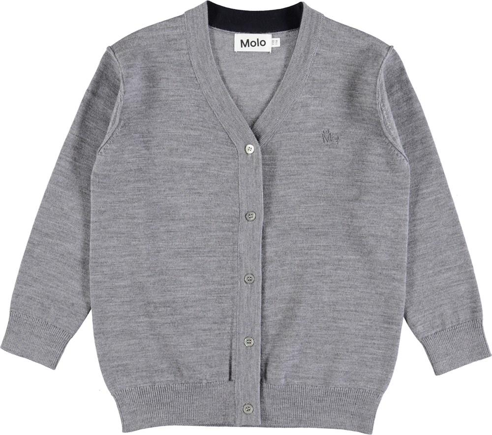 Basel - Grey Melange - Grey wool cardigan with buttons