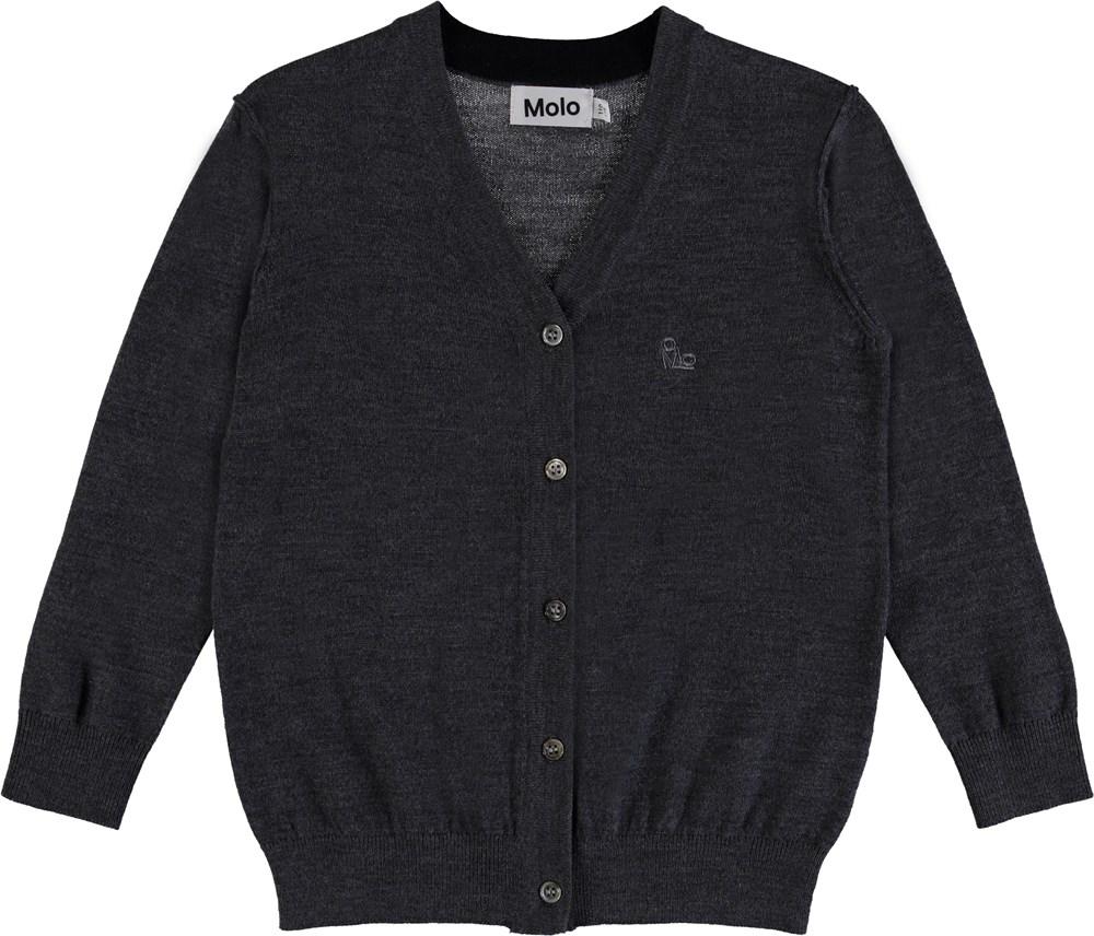 Basel - Medium Grey Melange - Knit cardigan with buttons.