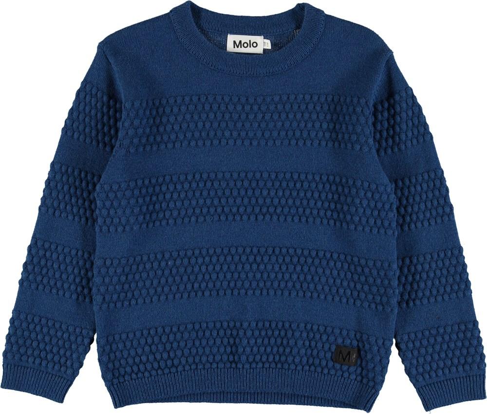Beau - Blue Melange - Blue knit with bubble texture
