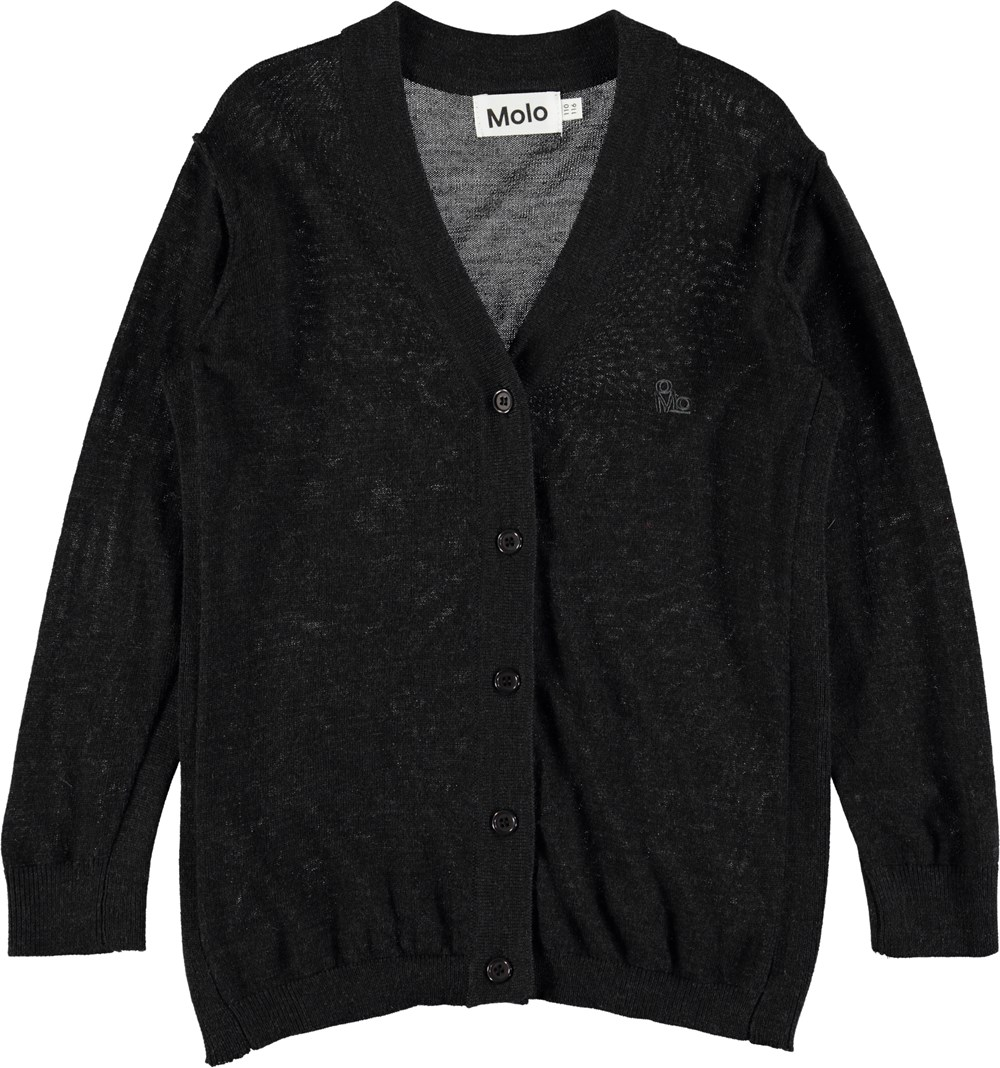 Benicio - Black Melange - Black melange, lightweight wool cardigan