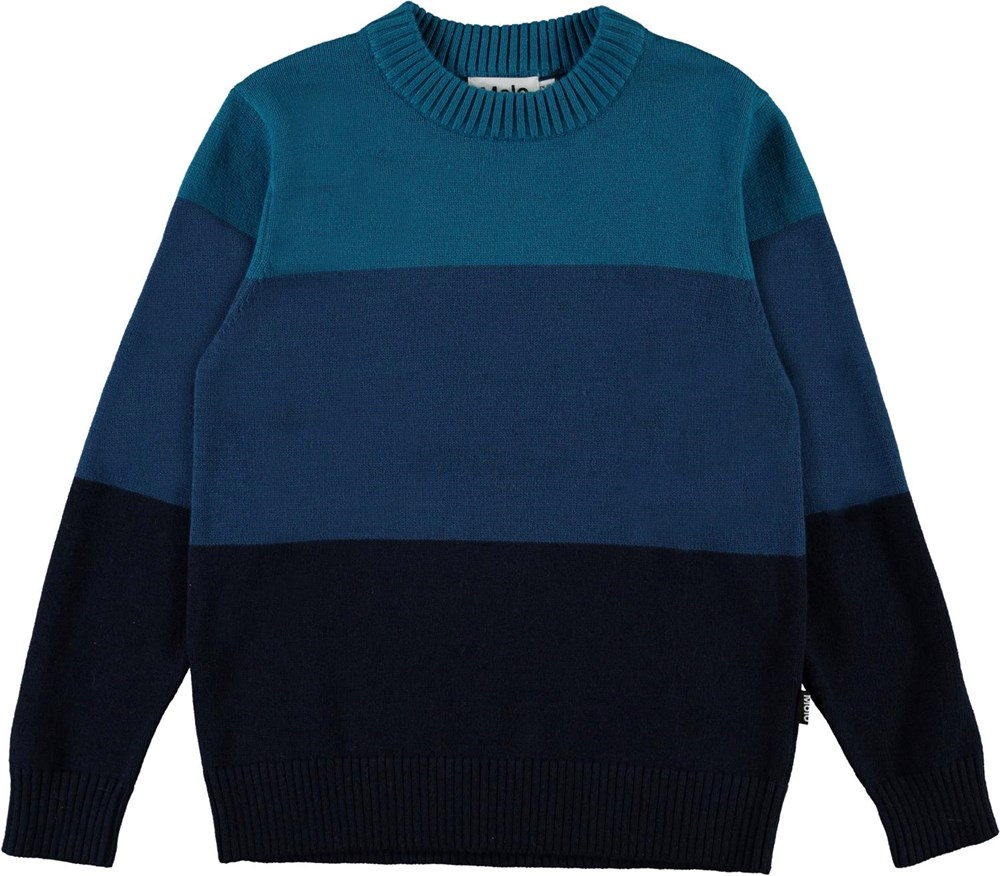 Berge - Tricolore - Blue striped knit top