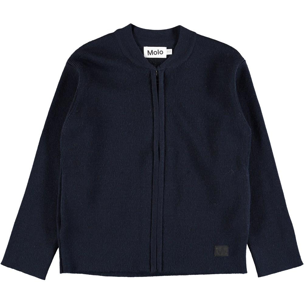 Bertil - Dark Navy - Dark blue wool cardigan with zipper