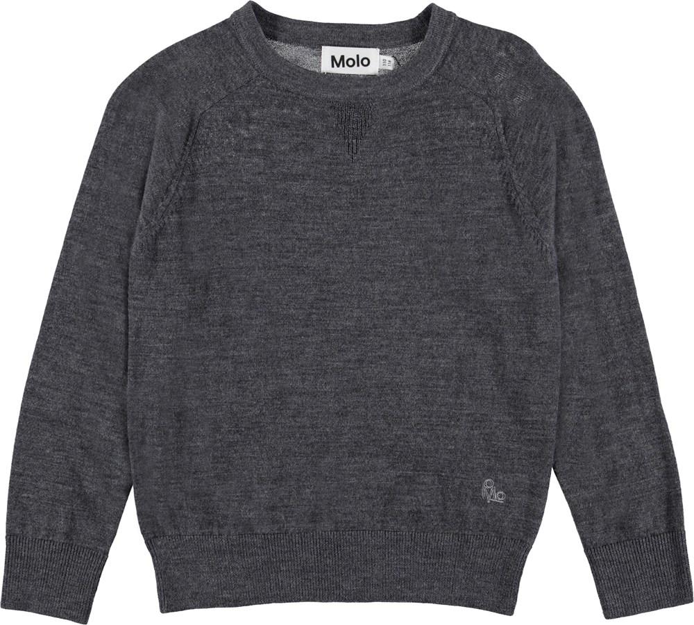 Billy - Medium Grey Melange - Knit pullover with crewneck