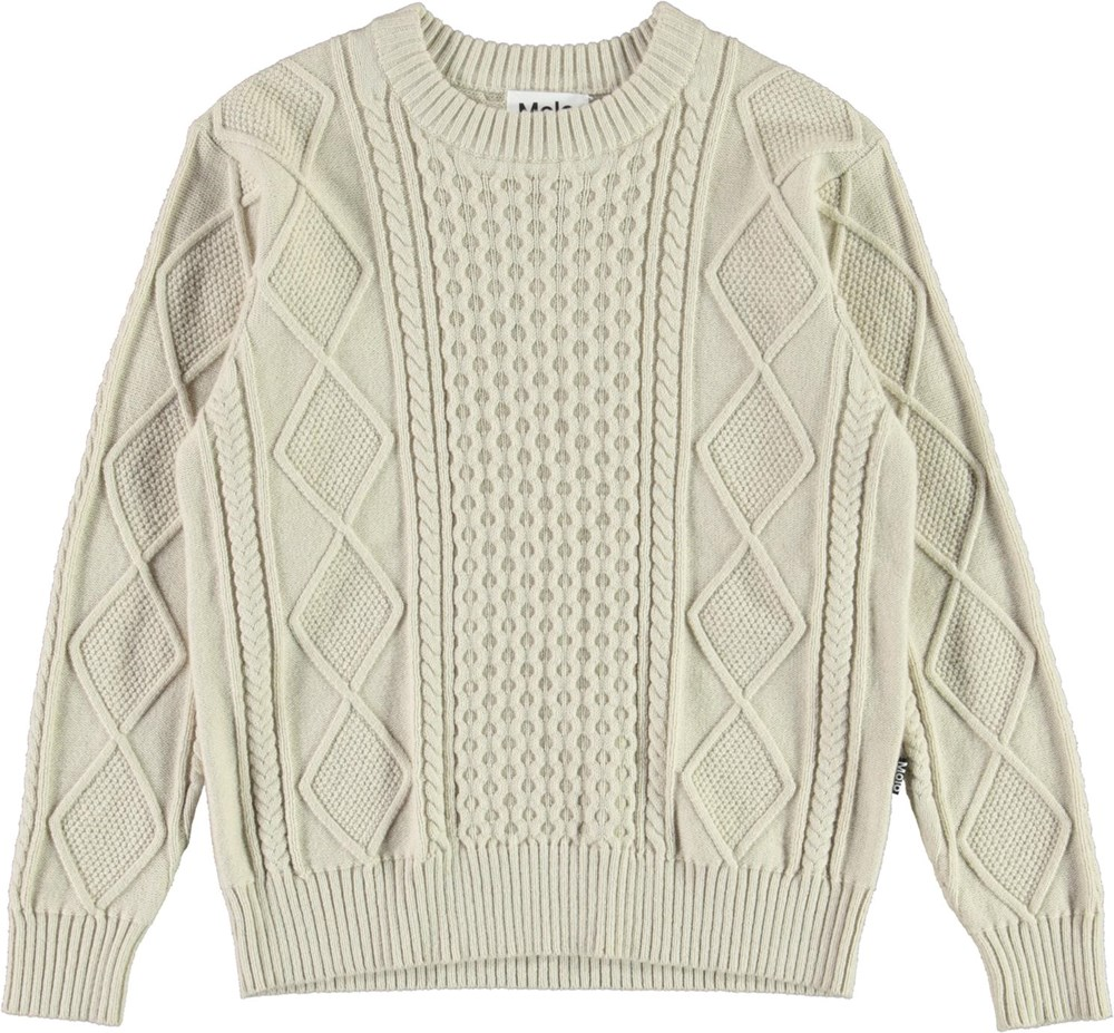 Borge - White Star - White knit top in cotton and wool
