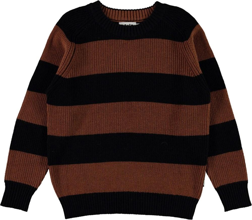 Bosse - Iron Stripe - Brown and black striped organic knit