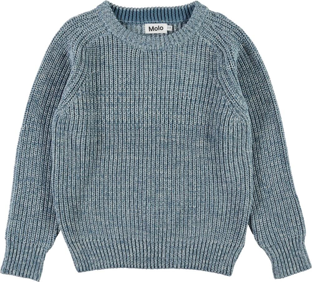 Bosse - Mix Yarn - Blue organic cotton knit top