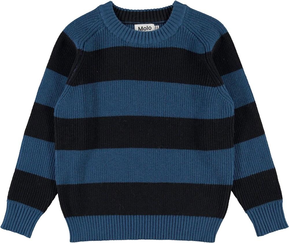 Bosse - Sea Stripe - Blue and black striped organic knit