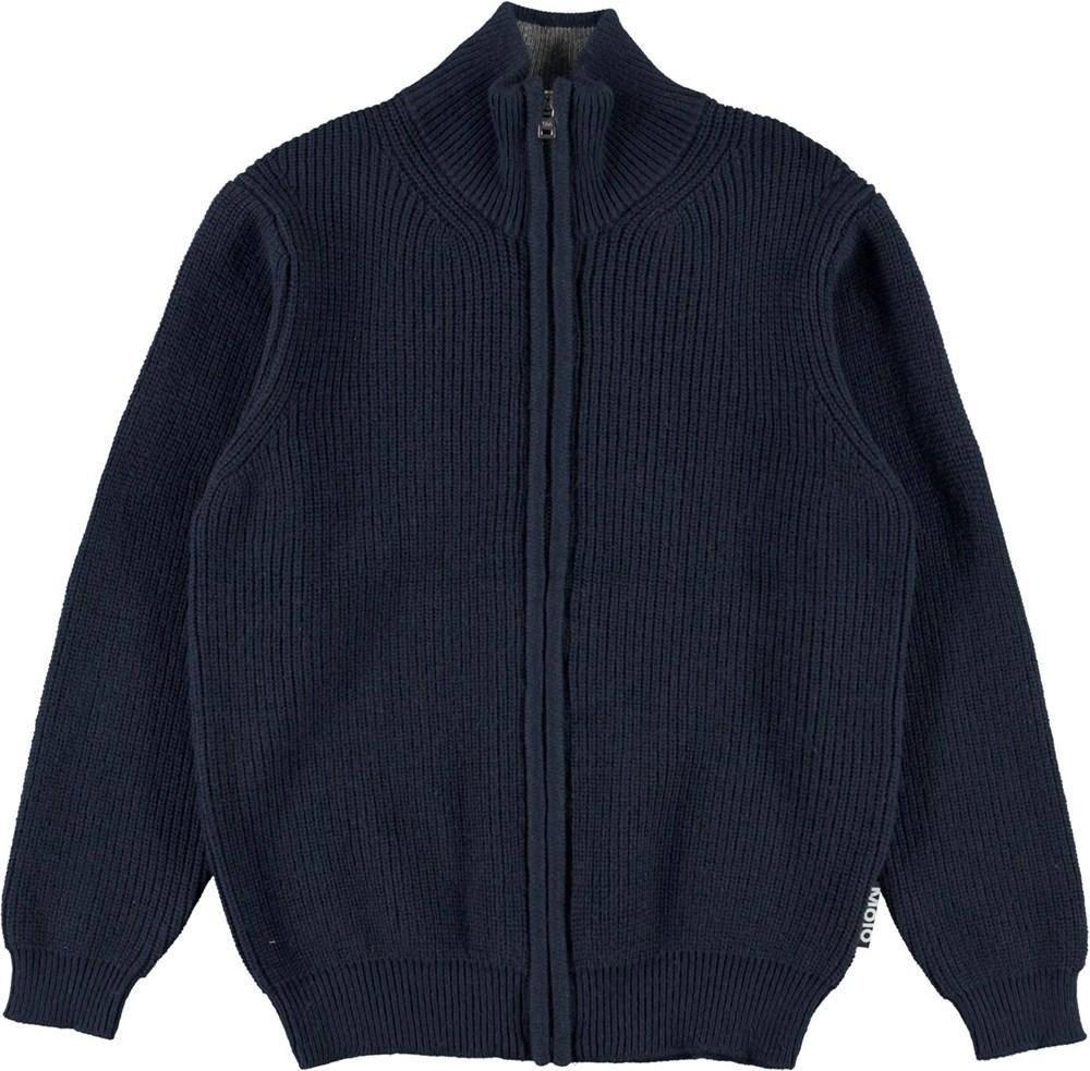 Boyd - Dark Navy - Blue knit top with zipper
