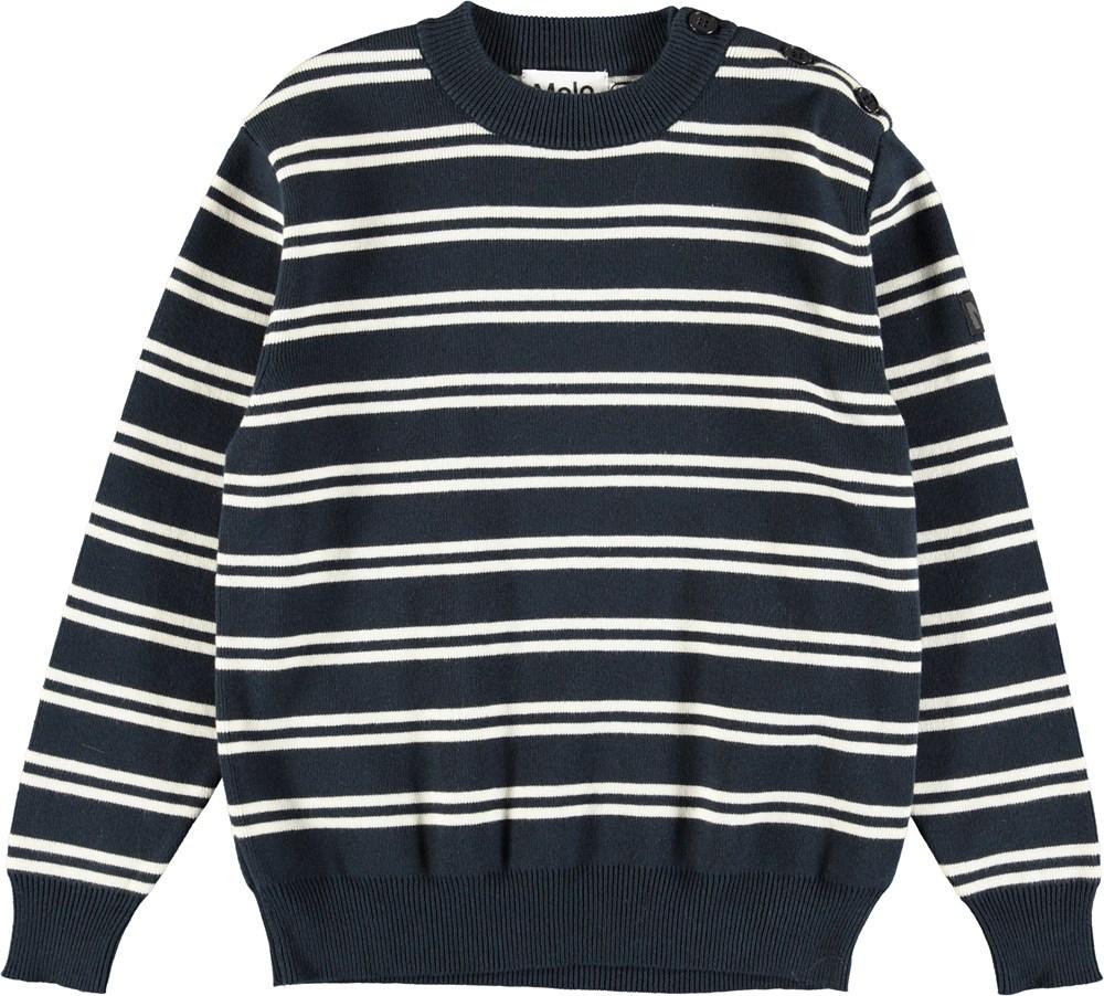 Bror - Navy Double Stripe - Dark blue cotton knit with white stripes