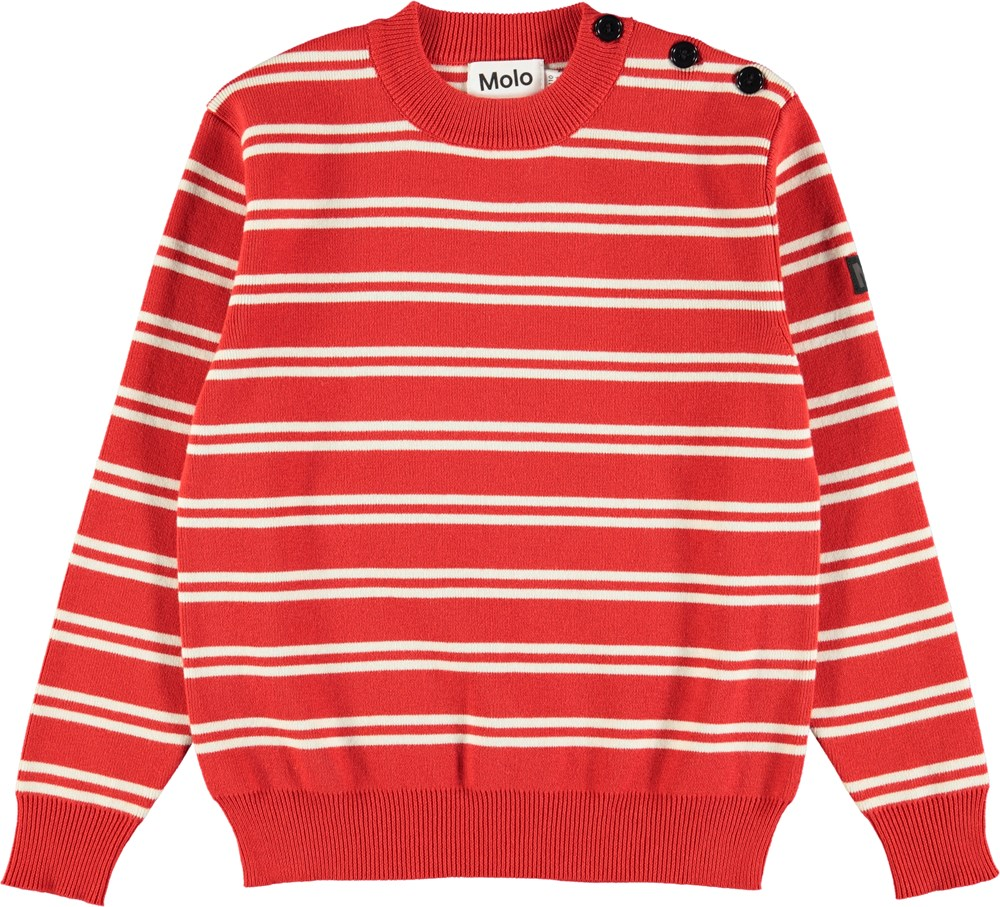 Bror - Red Double Stripe - Red cotton knit with white stripes
