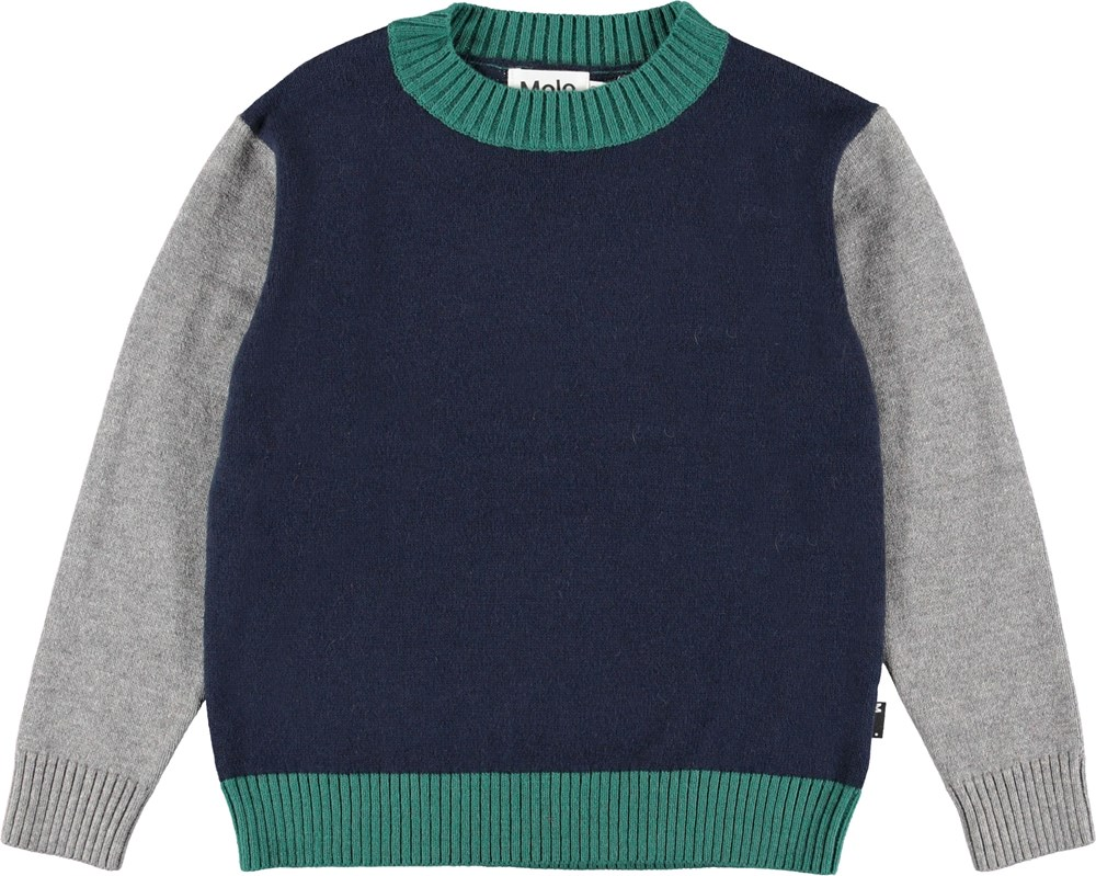 Buster - Colour Block - Blue colour block knit top.