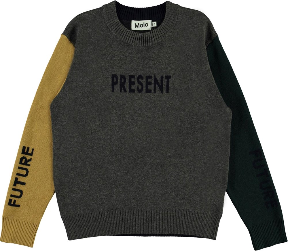 Buster - Past, Present, Future - Colour-blocked knit top with future and present