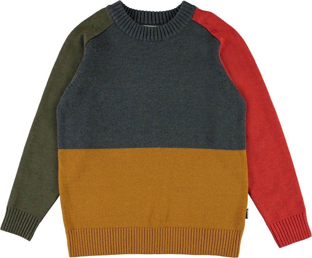 Buzz - 4 Colour - Red, green, yellow and grey knit top