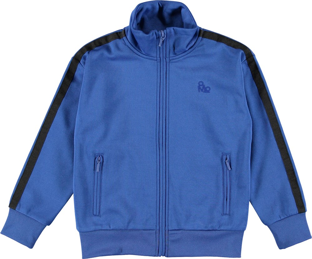 Maboo - True Blue - Blue sporty jacket with stripes.