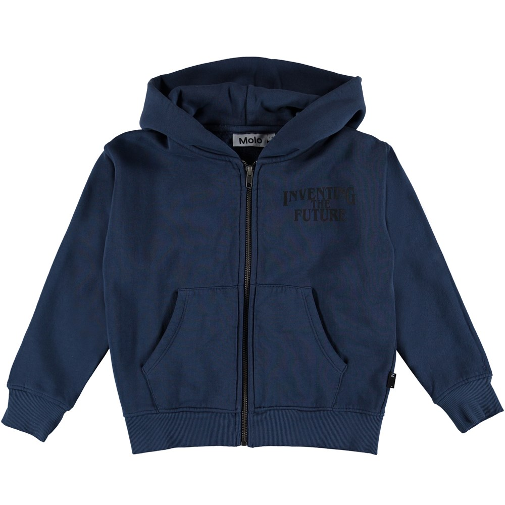 Macci - Infinity - Dark blue hoodie top with text on the chest.