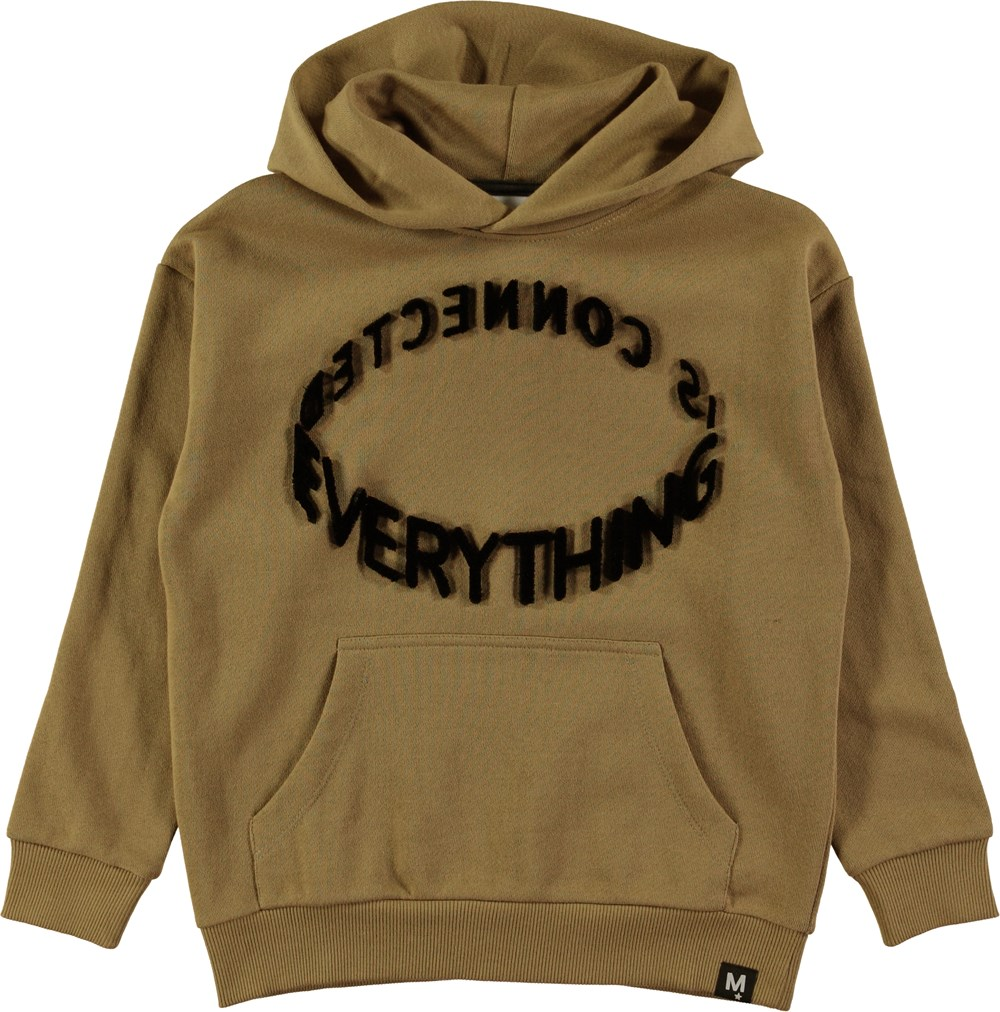 Macm - Khaki - Khaki coloured hoodie with pouch pocket and graphic text
