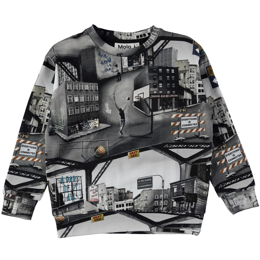 Madsim - City Text - Sweatshirt with digital city text print