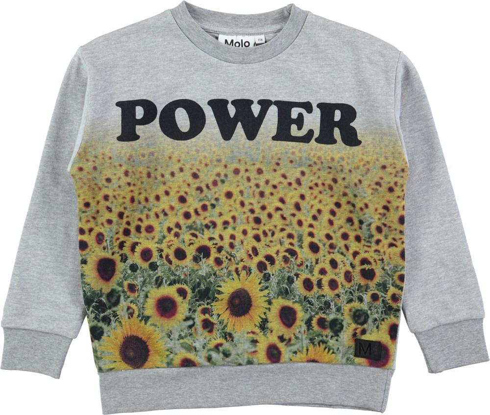 Madsim - Power Flowers - Grey oversized sweatshirt with digital sunflower print
