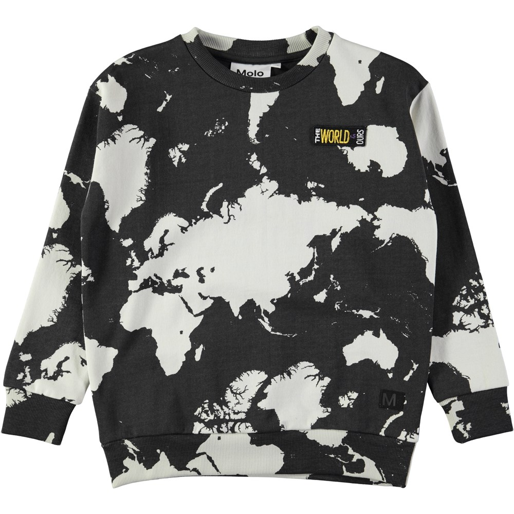 Madsim - World Map Dark - Dark grey sweatshirt with digital world map print