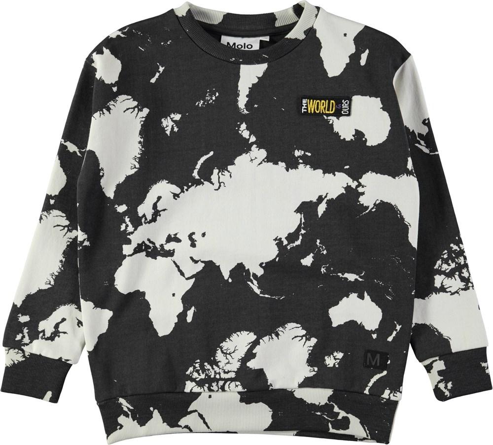 Madsim - World Map Dark - Dark grey sweatshirt with digital world map print