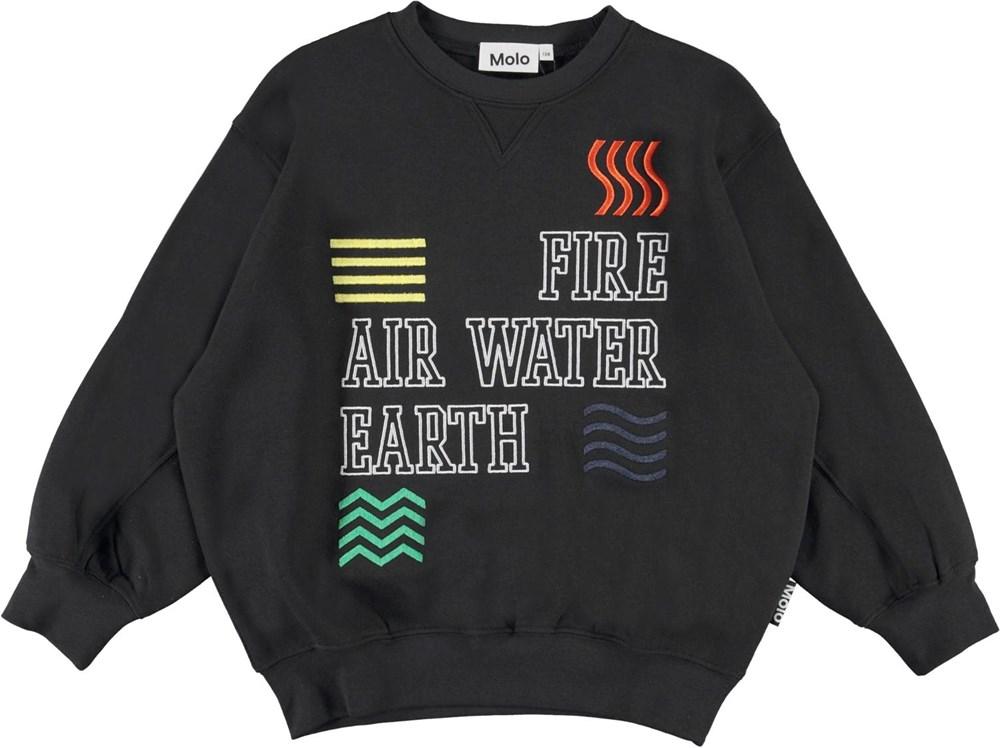 Magni - Black - Black sweatshirt with fire air water