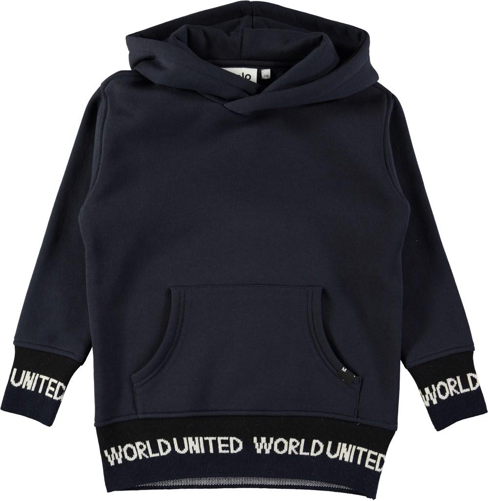 Maico - Dark Navy - Dark blue hoodie with pouch pocket and graphic text