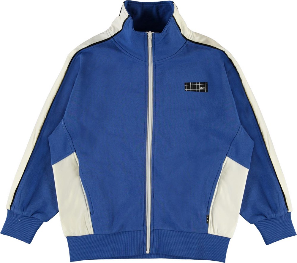 Malio - Cobalt - Blue and white organic track jacket