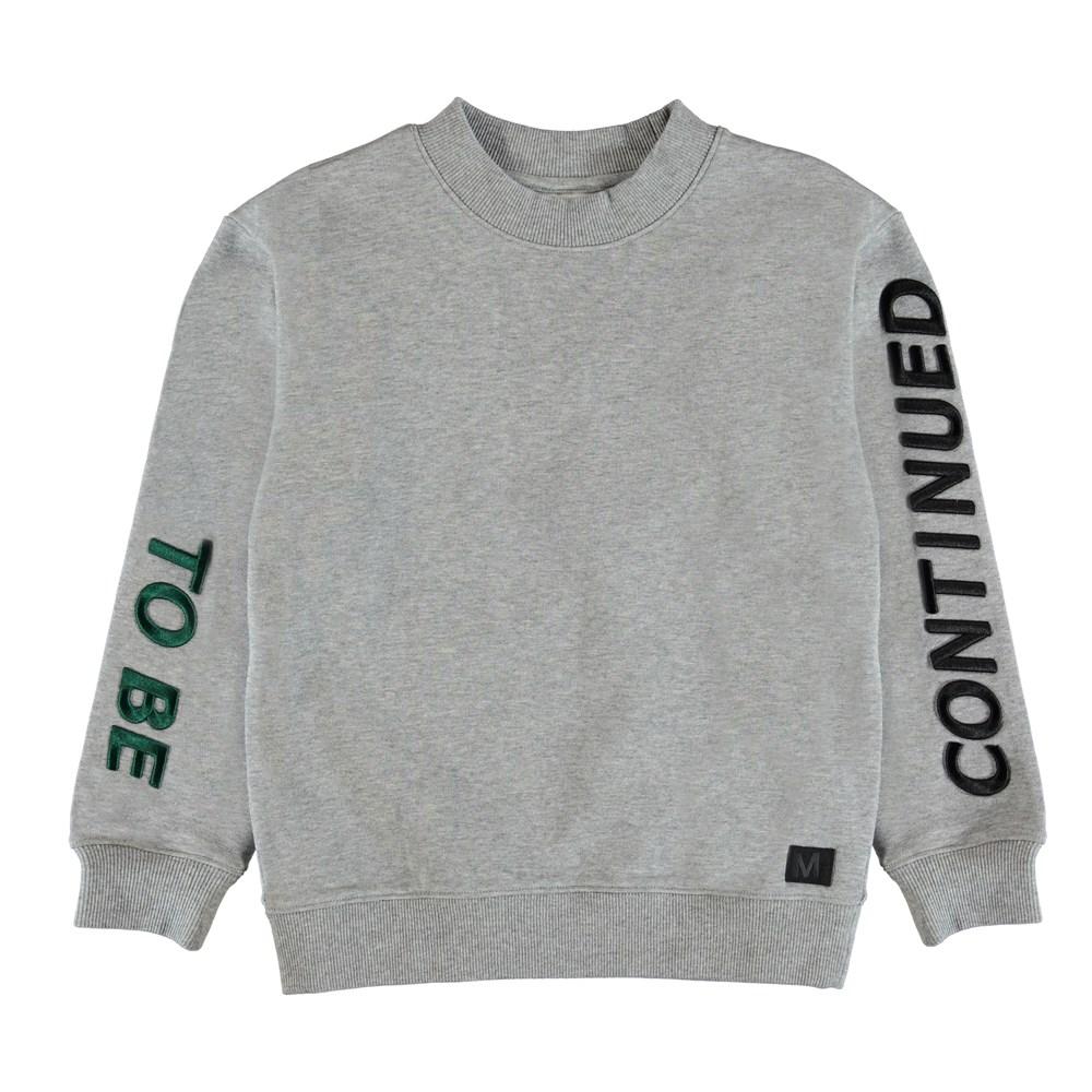 Malvin - Grey Melange - Sweatshirt with embroidered text.