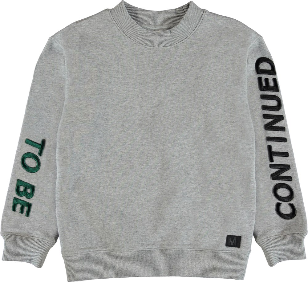 Malvin - Grey Melange - Sweatshirt with embroidered text.
