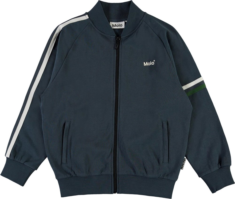 Manco - Summer Night - Blue organic track jacket with stripes