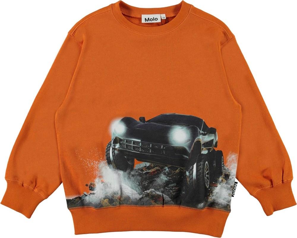 Mann - Autumn Forest - Orange organic sweatshirt with a car print
