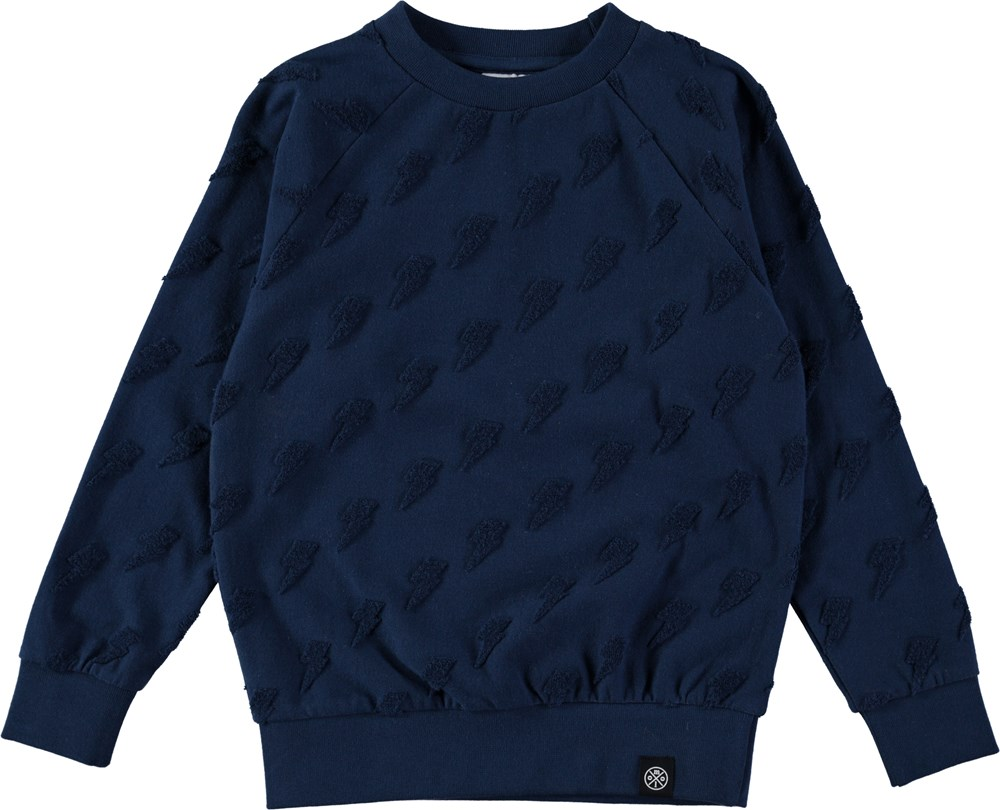 Mao - Deep Blue - Blue sweatshirt with lightening print - molo
