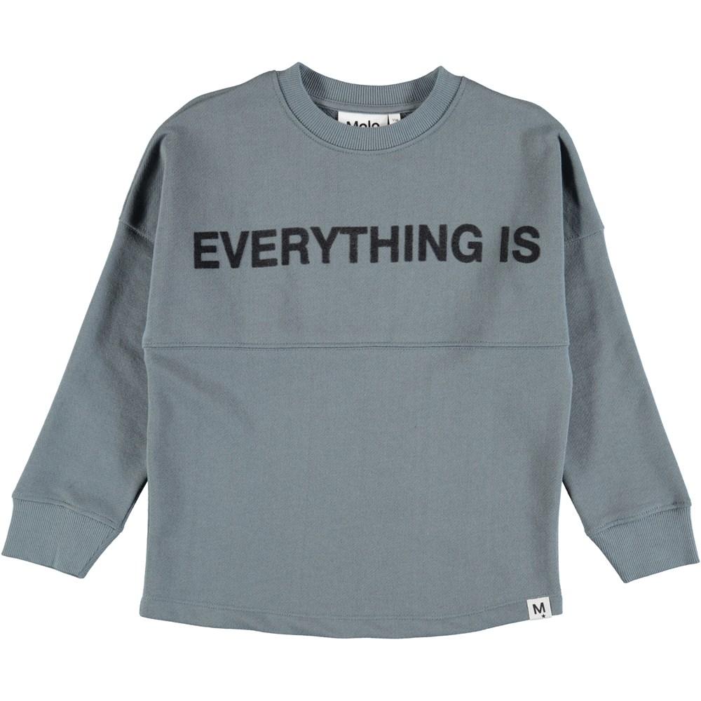 Maraiz - Stormy Weather - Dusty blue sweatshirt with graphic letters