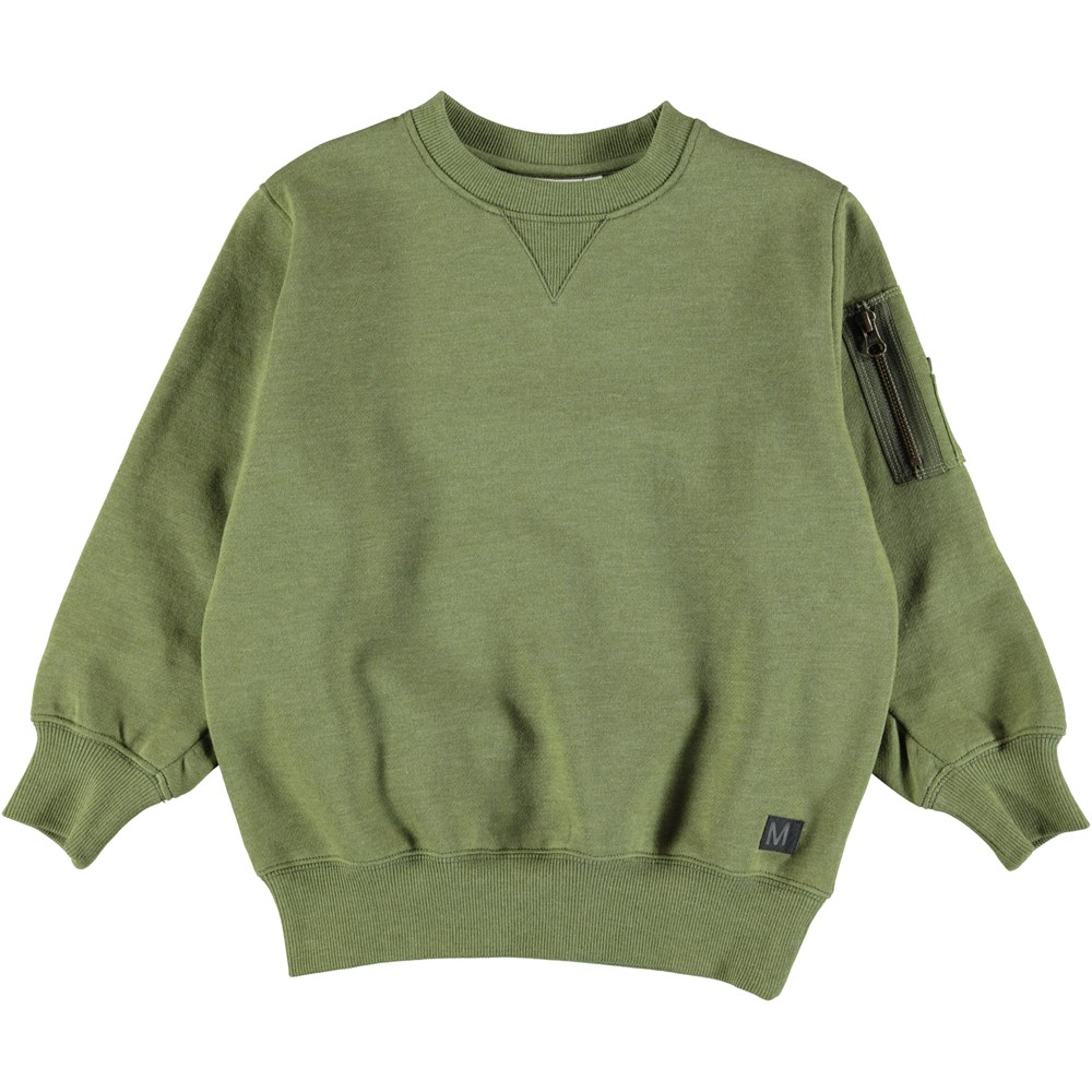 Markku - Seaweed Melange - Oversized green sweatshirt with zipper on sleeve