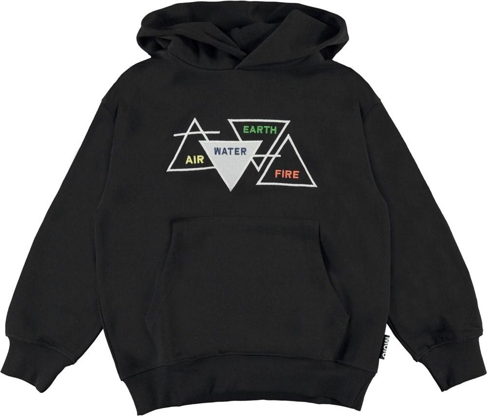 Matt - Black - Black organic hoodie with air water