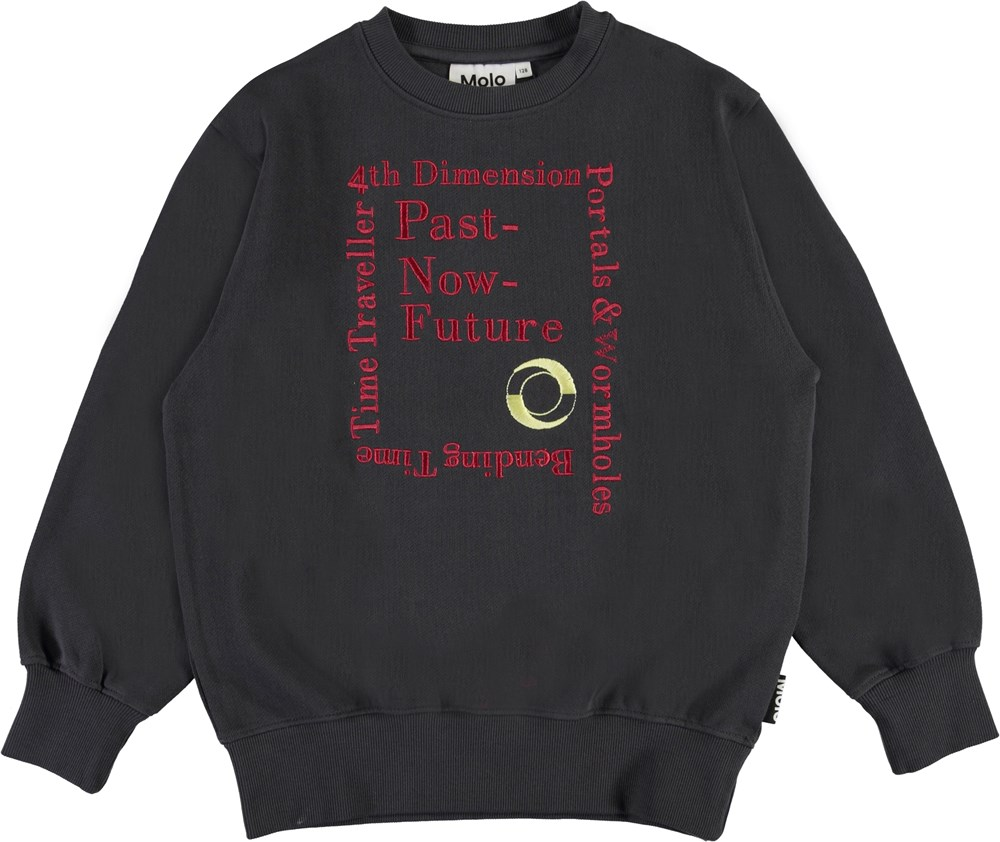 Mattis - Night Grey - Dark grey sweatshirt with bordeaux text