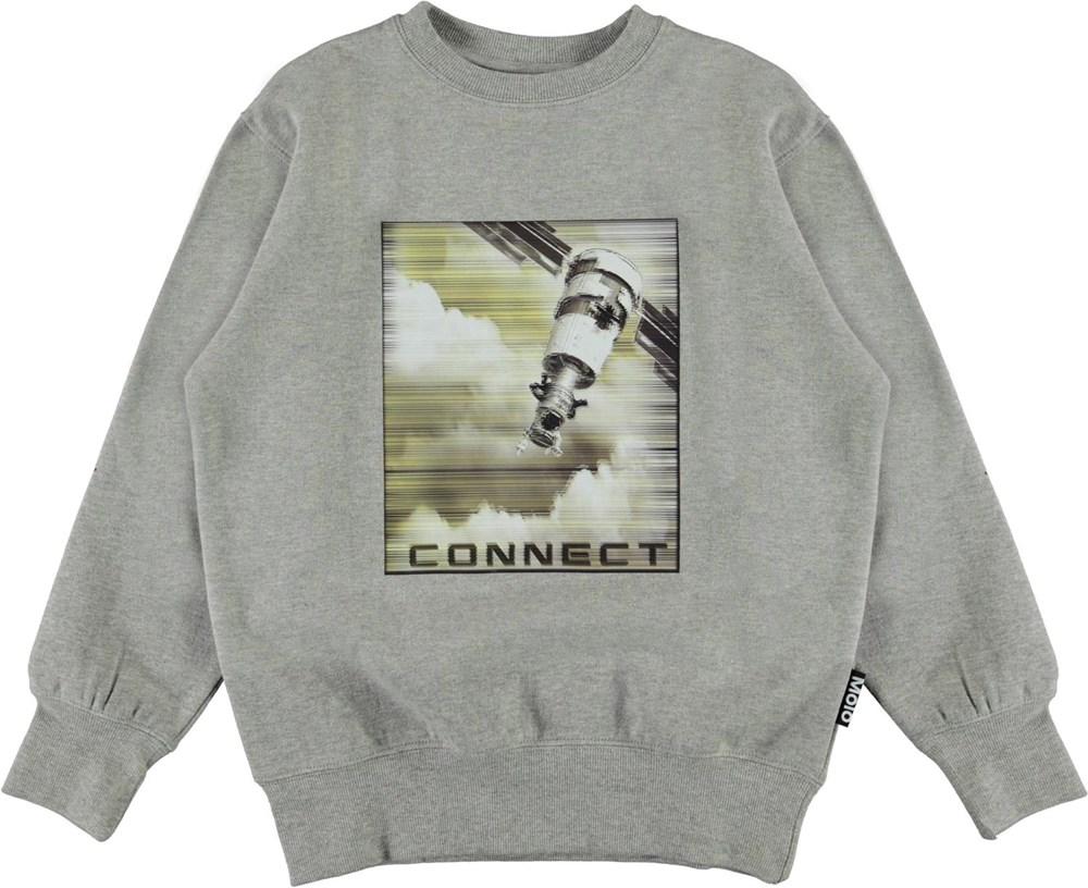 Mattis - Satellite Jam - Grey organic sweatshirt with satellite print