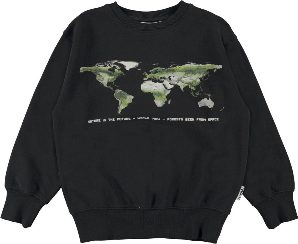 Mattis - Black - Black organic sweatshirt with Earth