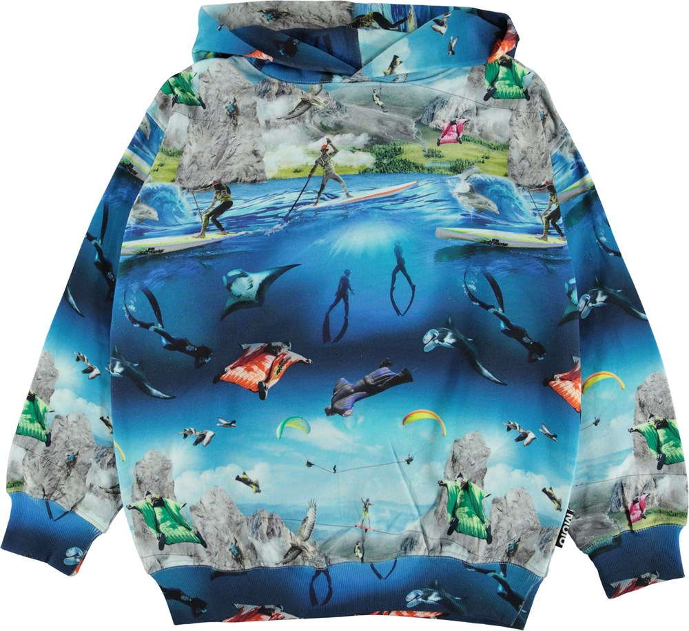 Matty - Go Extreme - Organic hoodie with extreme sport print